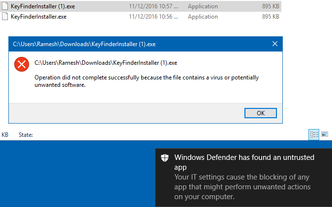 Warning message from Windows Defender