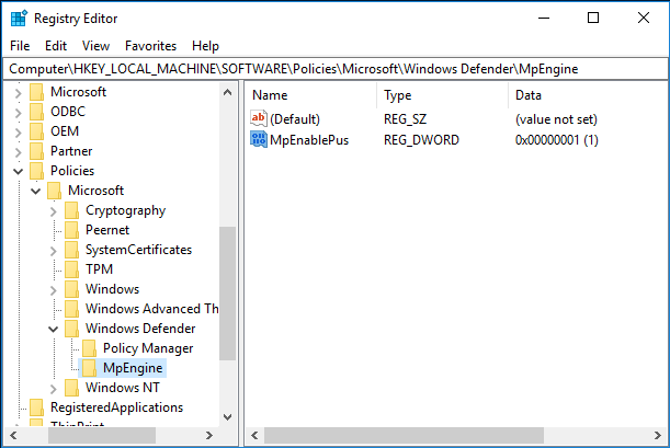 Enable anti-PUP protection in Windows Registry