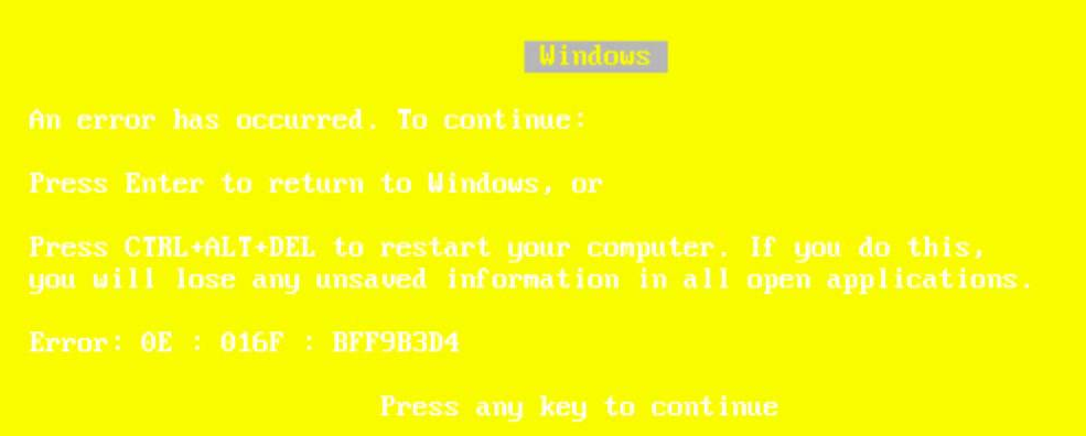 Yellow screen of death